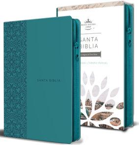 Biblia Reina Valera 1960 letra grande. Símil piel aguamarina, cremallera, tamaño manual/Spanish Bible RVR 1960. Handy Size, Large Print, Leathersoft Aqua,